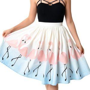 Unique Vintage Flamingo Skirt in XS